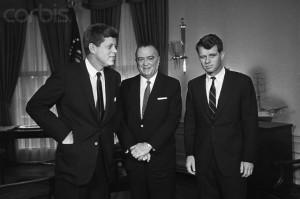J. Edgar Hoover, President John F. Kennedy and Attorney General Robert Kennedy